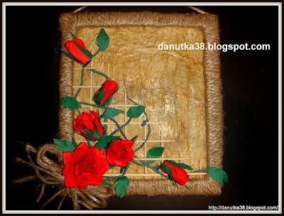 róże z papieru,prace ze sznurka