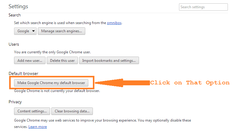 Make Chrome my Default Browser