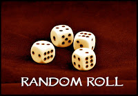 four six sided dice on a red background, Random Roll