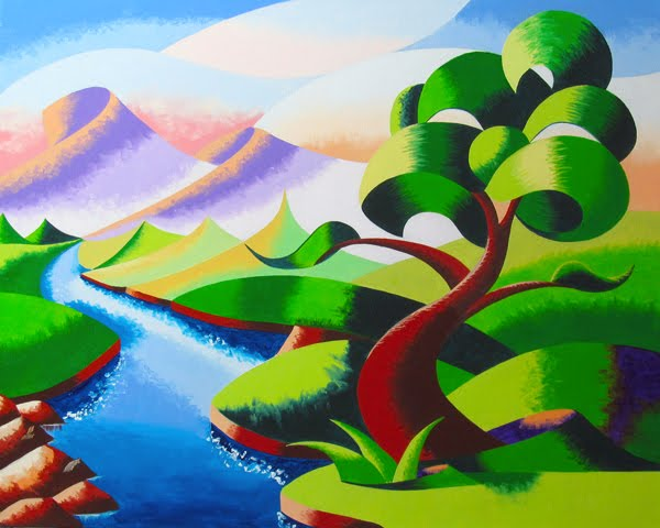 ... - Abstract Geometric Futurist Mountain River Landscape Oil Painting
