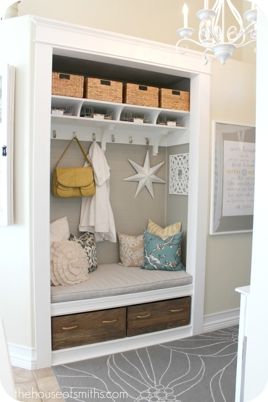 D I Y E S G N Closet To Nook Conversion With Custom Shelf