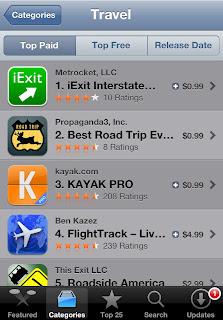 Screenshot of travel apps