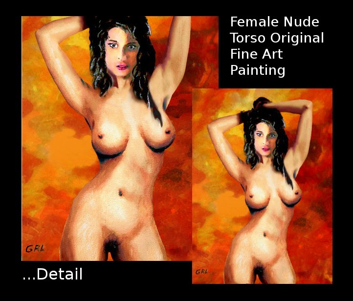 ... a multimedia acrylic / oi fine art female nude; flesh colors over a fiery background. - more information, classic, female, nude, standing, fine art, acrylic, oil, female naked, fire.