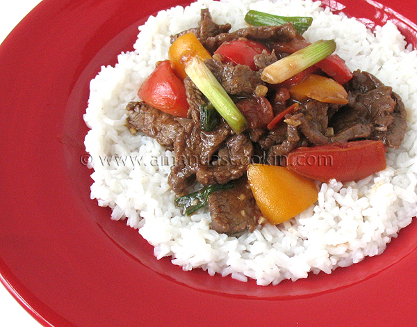 Beef Stir Fry with Tomatoes and Peppers - Amanda's Cookin'