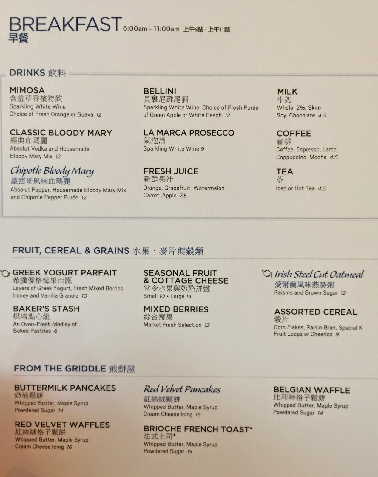 Cafe Vdara Las Vegas Prices Menu