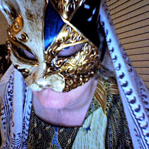 Cynthia Parkhill wearing blue and gold cat-face carnival mask