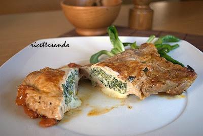 Braciole di maiale farcite ricetta di carne ripiena di verdure