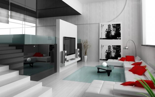 Fotos de dise os de salas en colores rojo y blanco c mo for Disenos de salas