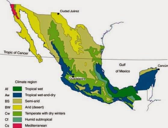 Climate map of Latin America showing Mexico's characteristics.