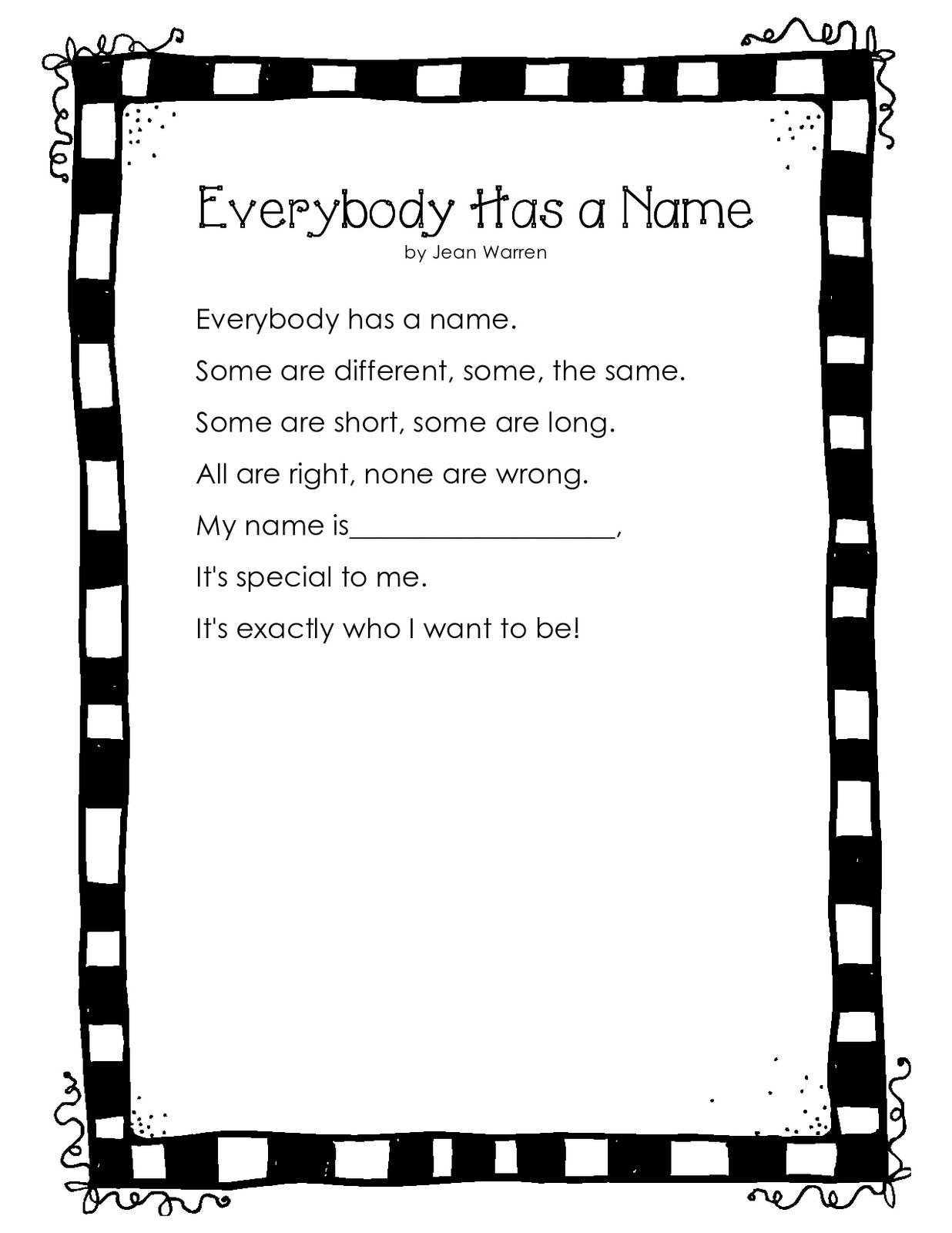 Kids can draw and color a self-portrait at the bottom of this poem ...