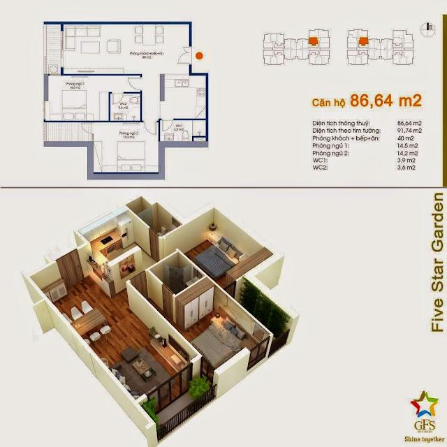 Diện tích căn hộ 84,64m2 Five Star