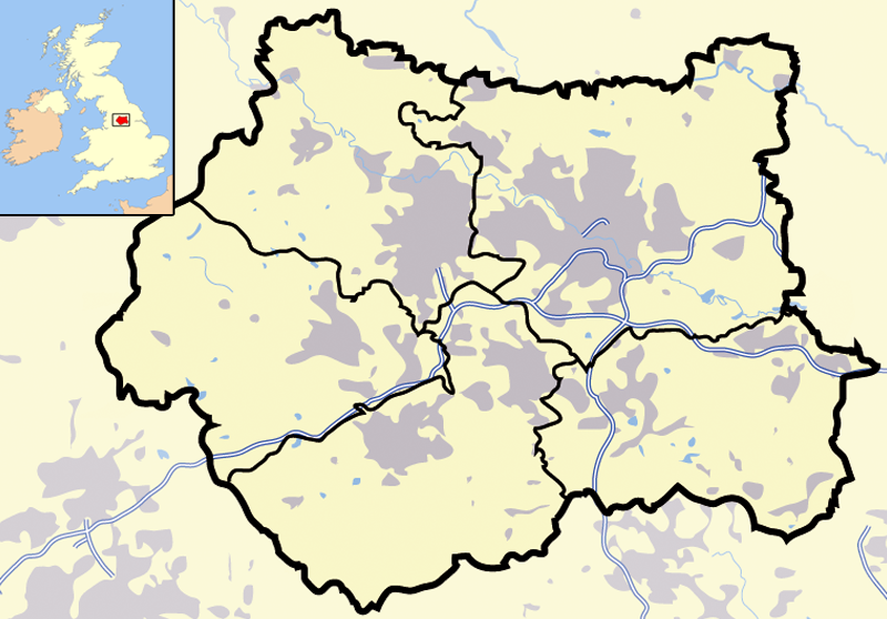 Outline Map of West Yorkshire County United Kingdom