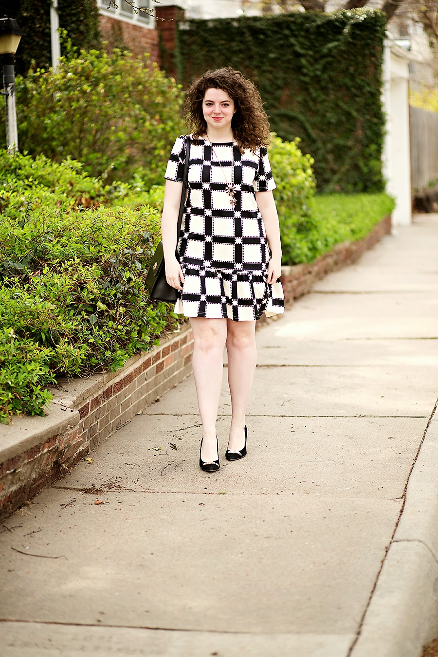 Asos black and white grid swing dress. The perfect outfit for business casual when you want to look professional but still maintain your youth.