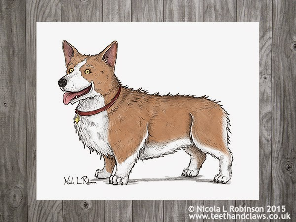 Corgi Art © Nicola L Robinson 2015 All rights reserved www.teethandclaws.co.uk