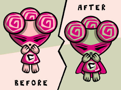 It's a cute to creepy mascot makeover!