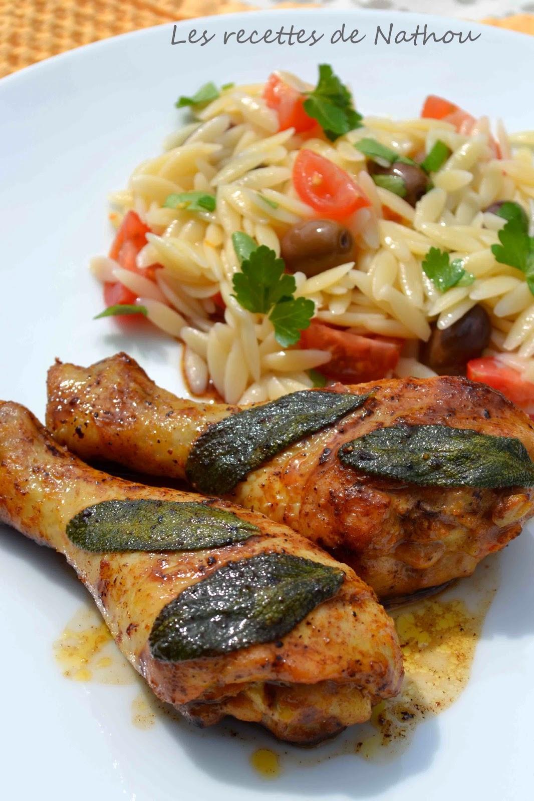 Pilons de poulet au citron et la sauge salade de risone soto - Pilon de poulet a la poele ...