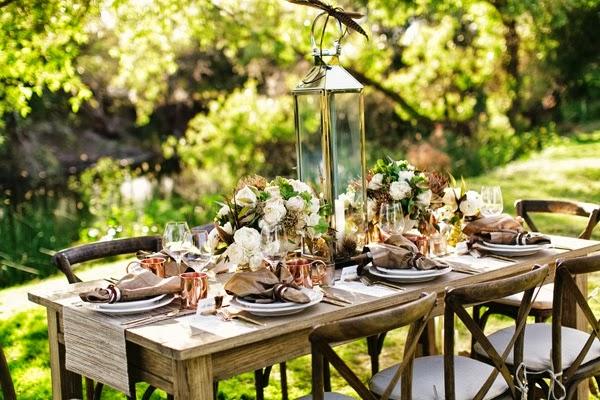mesa decorada para boda de otoño