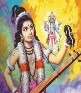 Narada regaling Vishnu with his tales; Pahari miniature painting