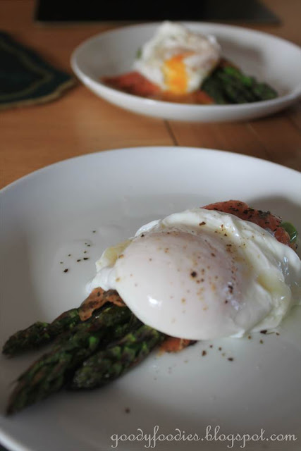 smoked salmon around the asparagus ends, then place the poached egg ...
