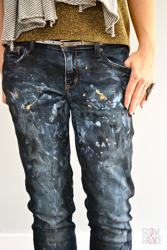 DIY painted denim - splatter paint jeans