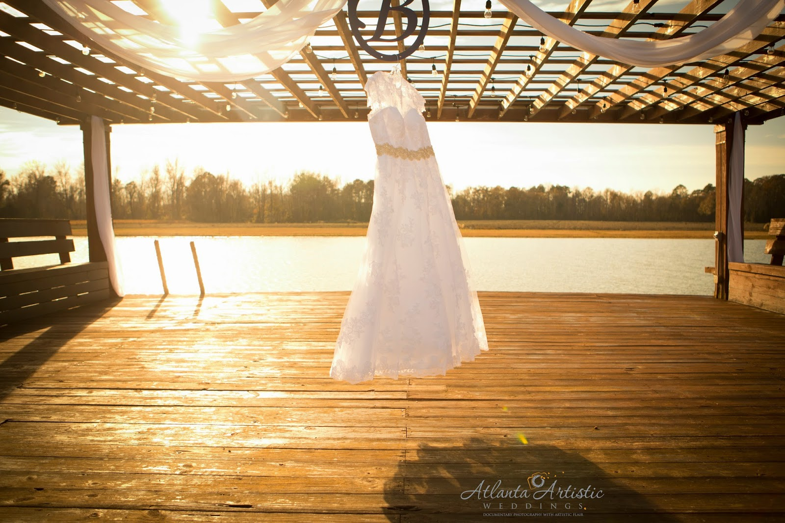 Wedding details and Wedding dress at Sunset