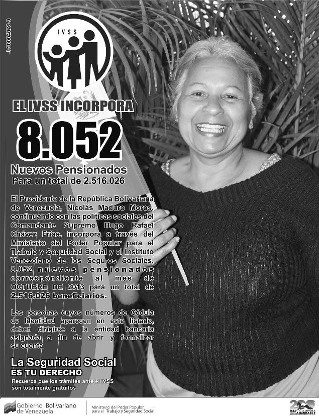 Nuevo listado de pensionados del Seguro Social y Amor Mayor al (15-09