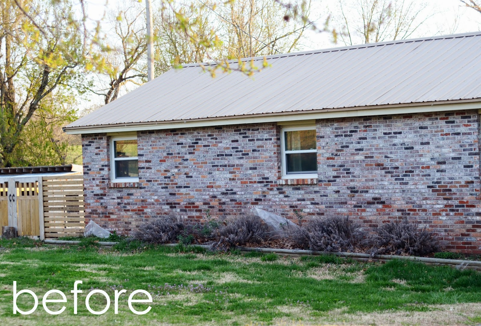 Natalie creates exterior house renovation progress painted brick - Painting over brick exterior photos ...