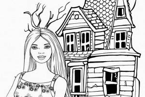 Barbie Halloween Coloring Pages 300x200
