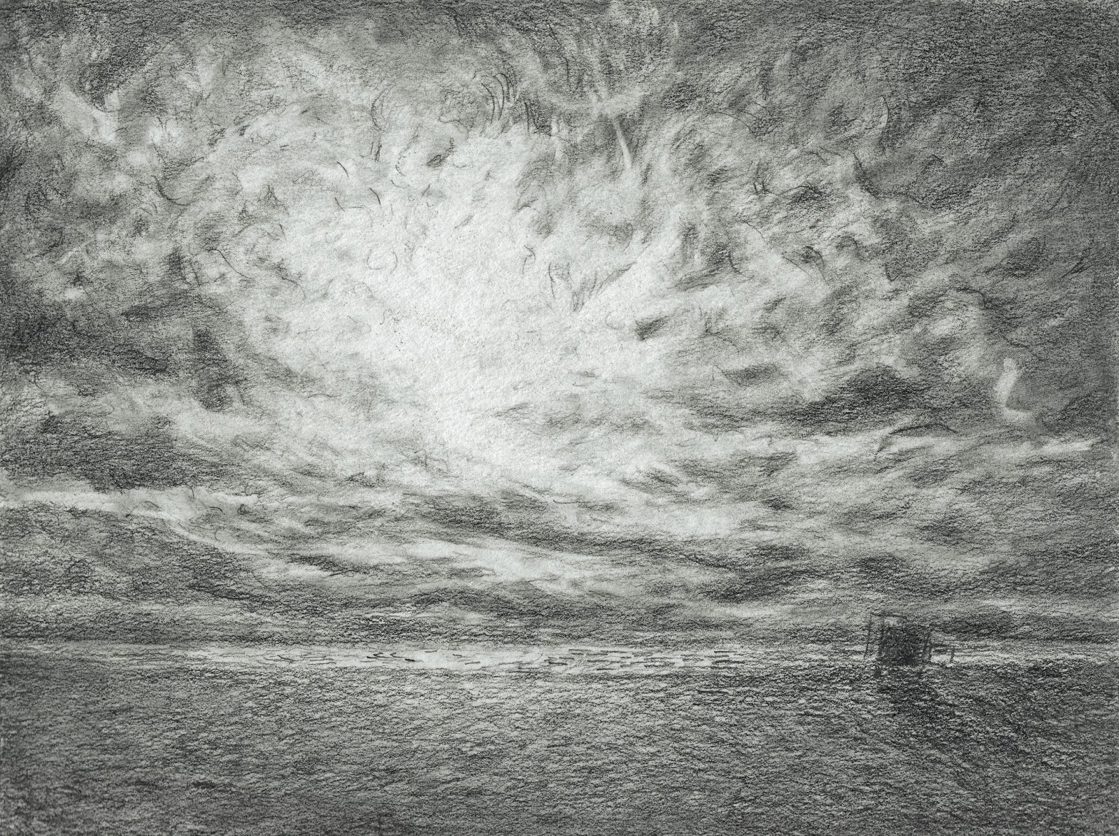 Beach Day's End Katherine Kean graphite sea ocean sky clouds atmospheric