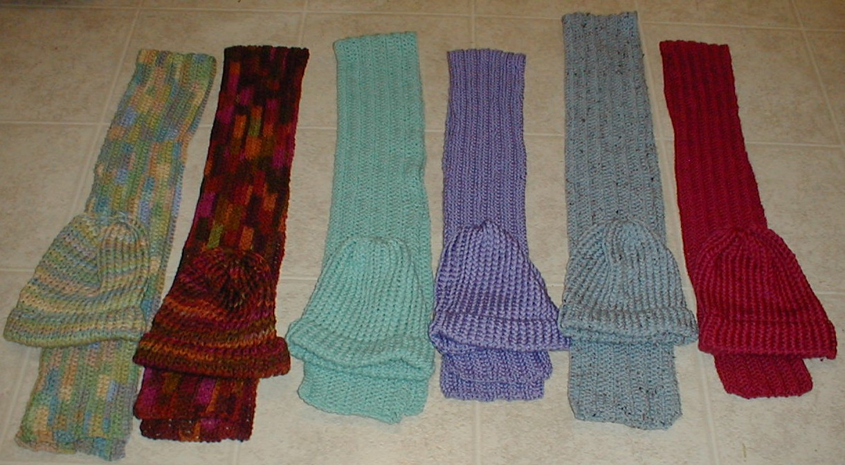 Karens Crocheted Garden of Colors: 6 Loom Knitted Hats and 6 Crocheted Scarves