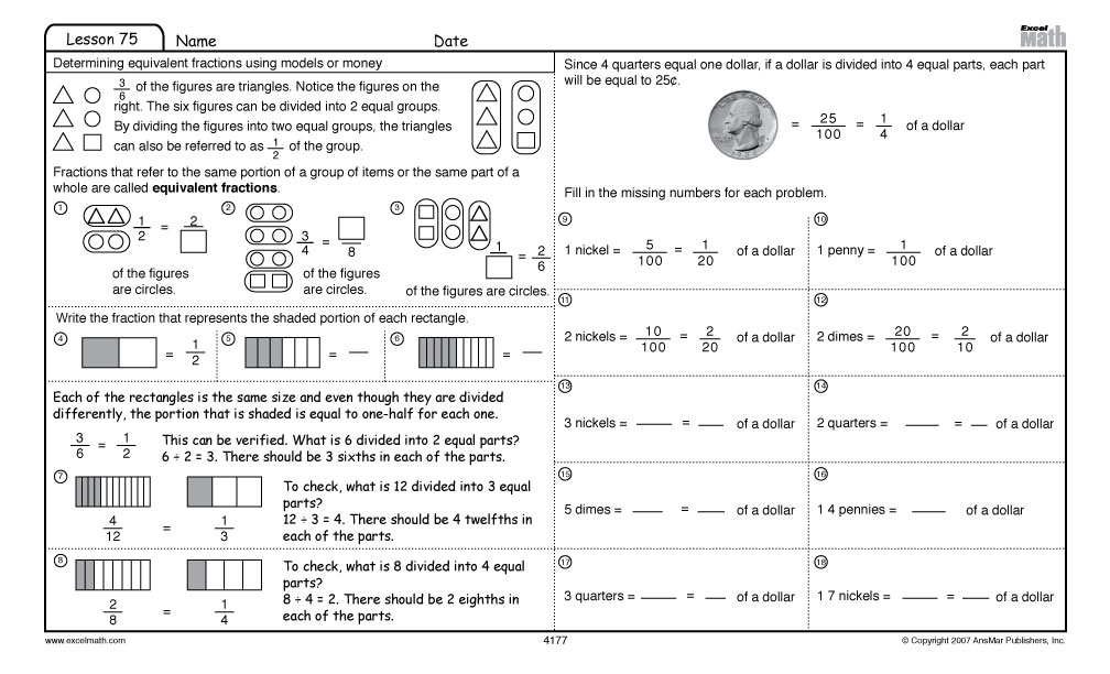 Excel Math Identifying Equivalent Representations of Fractions Money – 4th Grade Math Fraction Worksheets