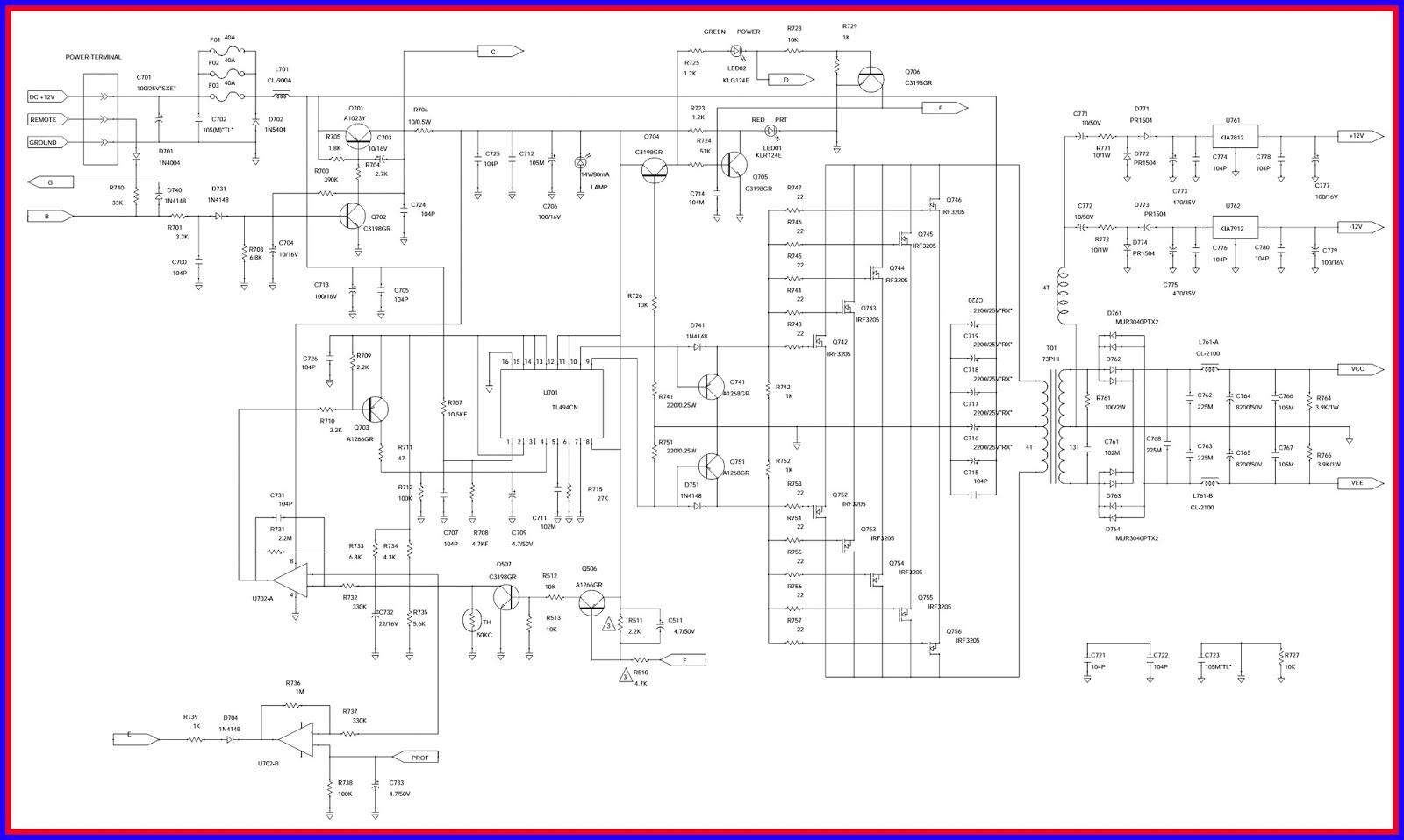 Electronic Equipment Repair Centre Jbl Bp1200i Modification Power Loudspeaker Protection And Muting Using Tl494 Ir3205