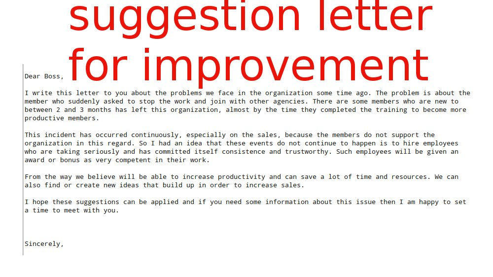 Suggestion Letter For Improvement ~ Samples Business Letters