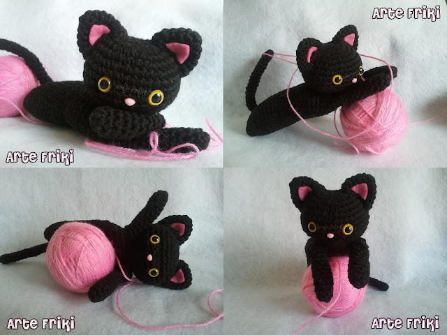 gato negro amigurumi black cat crochet ganchillo peluche