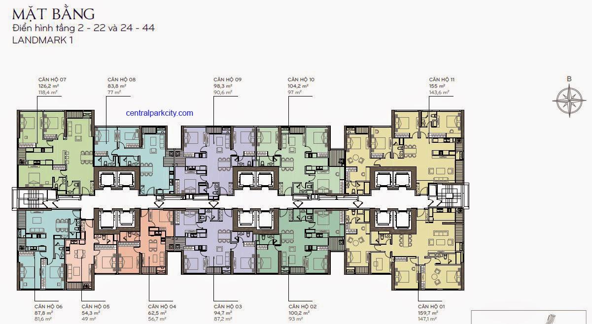Mặt bằng bố trí căn hộ Landmark 1 tầng 2 - 22 và 24 - 44
