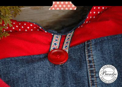alt Jeans recyceln Upcycling Tasche Joker Taschenspieler Farbenmix Paspel London Webband Knopf