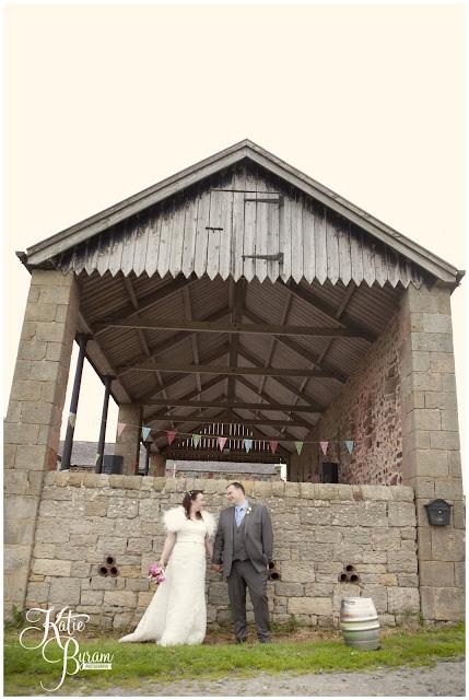 barn wedding, bride in window, bridal prep, vintage wedding, high house farm brewery wedding, northumberland wedding photography katie byram photography,