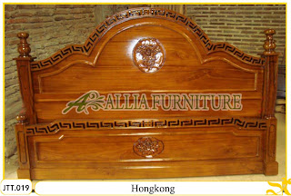 Tempat tidur kayu jati ukir jepara Hongkong murah.Jakarta