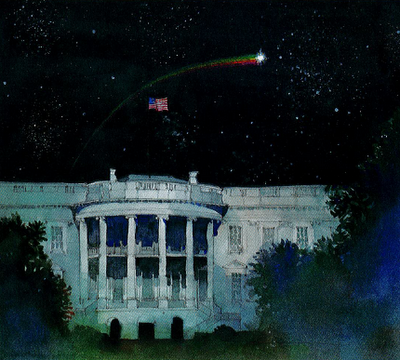 Shooting star above the White House
