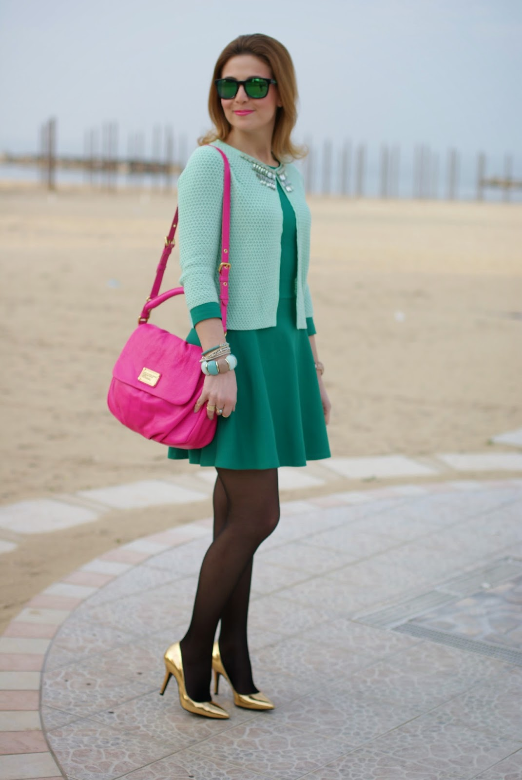 Jeweled cardigan, Marc by Marc Jacobs lil ukita bag, Giorgia and Johns cardigan diamonds menta, Fashion and Cookies, fashion blogger