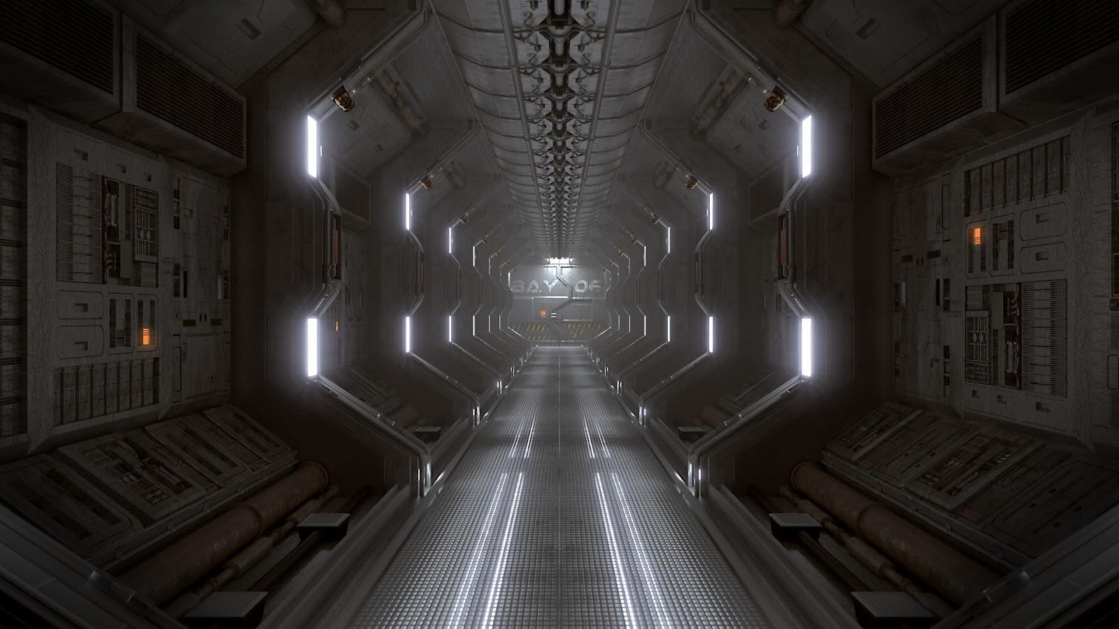 Blender 4d couloir de vaisseau spatial dans blender et for Interieur vaisseau spatial