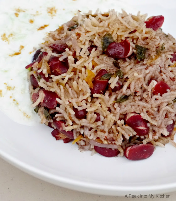 Rajma Pulao with Drumstick Leaves / Kidney Beans Rice with Moringa Leaves ~ Day 19