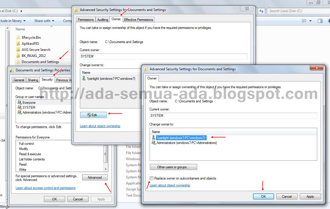 Cara membuka folder private Documents and Settings