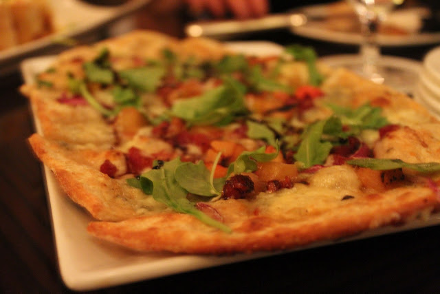 Flat bread pizza at Bond, Boston, Mass.