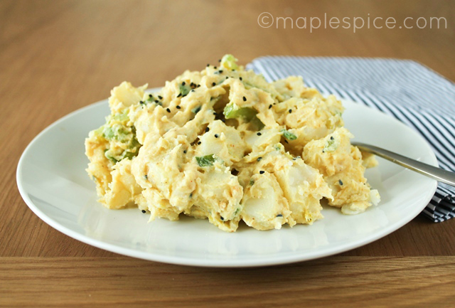 Creamy Curried Potato Salad - vegan.