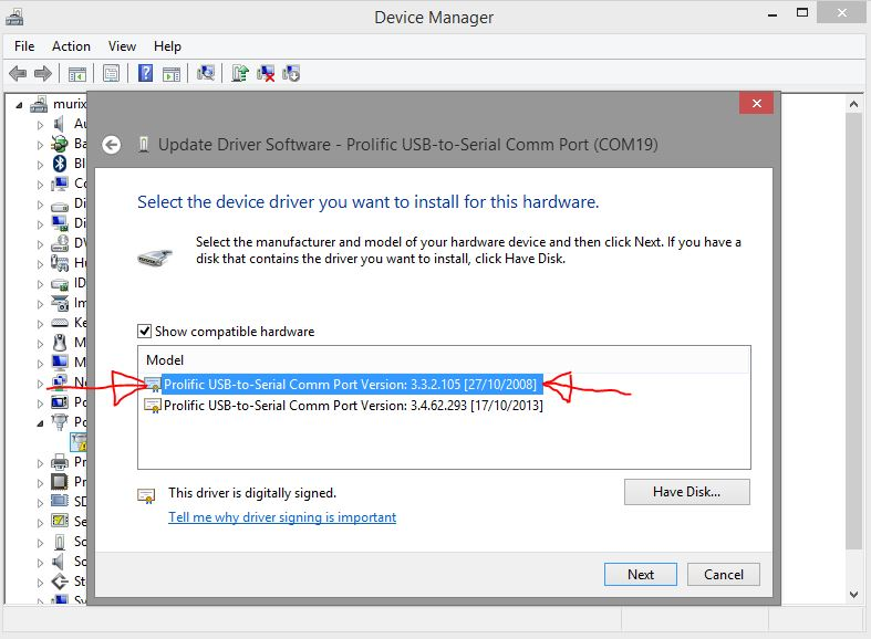 Pl2303 prolific driver installer v1 5 0 zip download getbet - Prolific usb to serial comm port driver windows 8 ...
