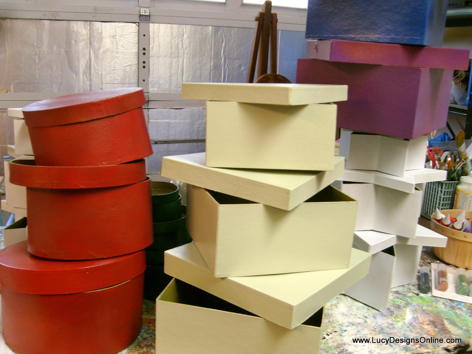 primed and base coat paper mache boxes