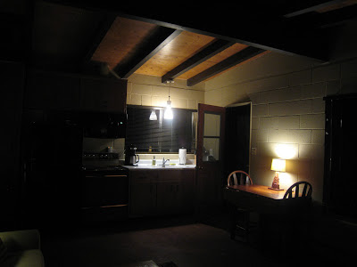 Kitchen at night Rock Haven Joshua Tree National Park California