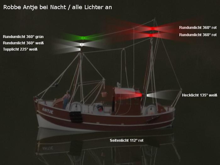 Antje von Robbe - Position der möglichen neuen Beleuchtung - Topplicht und Rundumlichter -  - alle Lichter eingeschaltet
