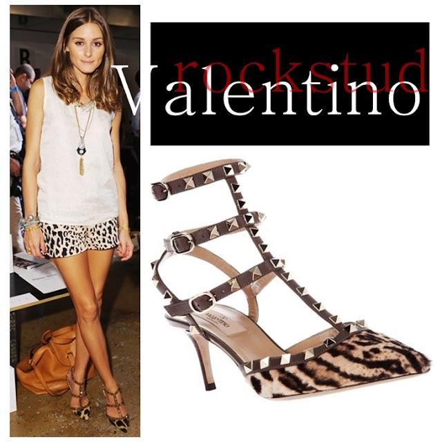 Olivia Palermo wearing Valentino Rockstud Leopard